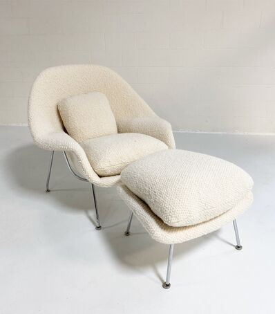 Eero Saarinen, 'Womb Chair and Ottoman in Dedar Boucle', mid 20th century-restored in 2021 by Forsyth