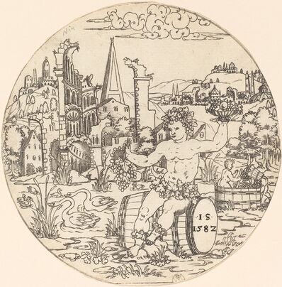 Master S, 'Bacchus Seated in a Landscape', 1582