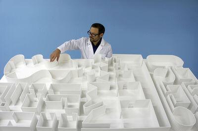 Pedro Reyes, 'Installation view of Sanatorium with artist Pedro Reyes from Whitechapel Gallery, London'