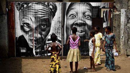 JR, '28 Millimètres, Women Are Heroes, Collage dans les rues de Monrovia, in the street of Monrovia, Liberia', 2008