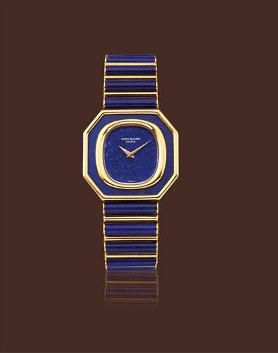 Patek Philippe, 'Yellow gold octagonal lapis lazuli manual wind movement bracelet wristwatch'
