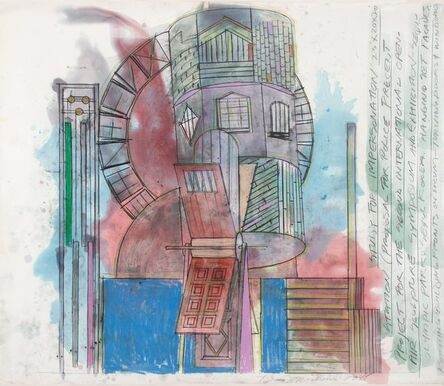 Dennis Oppenheim, 'Study for the Impersonation Station: Project for Police Precinct, Olympics, Seoul, Korea', 1988