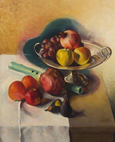 Stanton MacDonald-Wright, 'Still life with flute, fruit and bowl', 1942