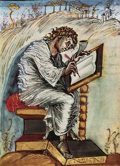 'Page with Matthew the Evangelist, Ebbo Gospels, Gospel of Matthew', Second quarter of 9th century