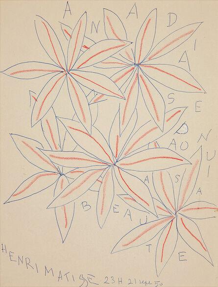 Henri Matisse, 'CINQ FLEURS A SA BEAUTE', 1950