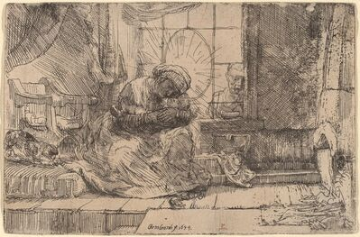 Rembrandt van Rijn, 'The Virgin and Child with the Cat and Snake', 1654
