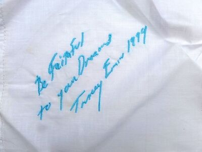 """Tracey Emin, '""""BE FAITHFUL TO YOUR DREAMS"""" EMBROIDERED HANDKERCHIEF', 1999"""