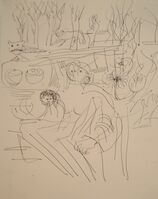 Henry Moore, 'Seated Mother & Child with Animals in Landscape', 1972