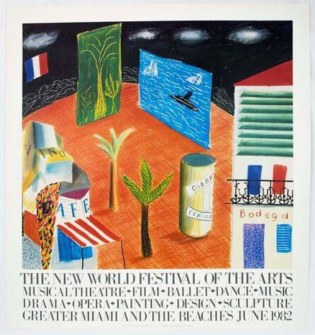 David Hockney, 'New World Festival of the Arts, Miami 1982 (Detail from The Zanazibar with Postcards 1980)', 1982