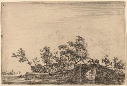 Anthonie Waterloo, 'Rider and Flock on a Bridge'