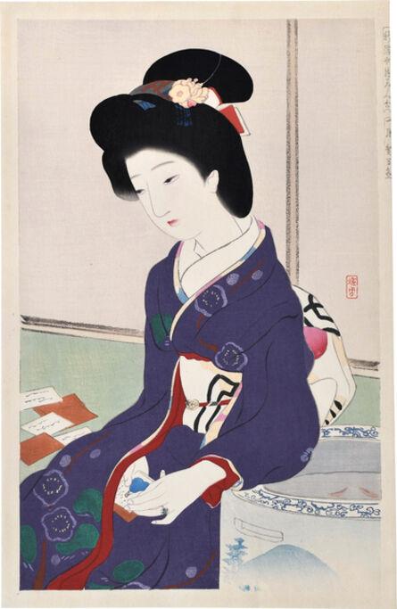 Ikeda Terukata, 'Comparison of New Ukiyo-e Beauties: January, Playing Cards', ca. 1918