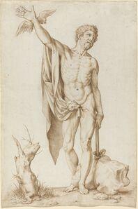 Cornelis Cort, 'Allegory of Poverty Hindering Wit', 1565/1570