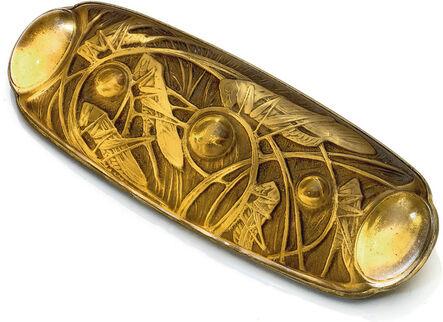 """René Lalique, '""""Sauterelles et Cabochon"""" Brooch'"""