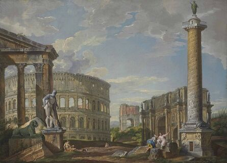 Studio of Giovanni Paolo Panini, 'A capriccio of classical ruins with the pronaos of the Porticus Octaviae, the Colosseum, the Arch of Drusus, the Arch of Constantine, the Column of Trajan and the Farnese Hercules'