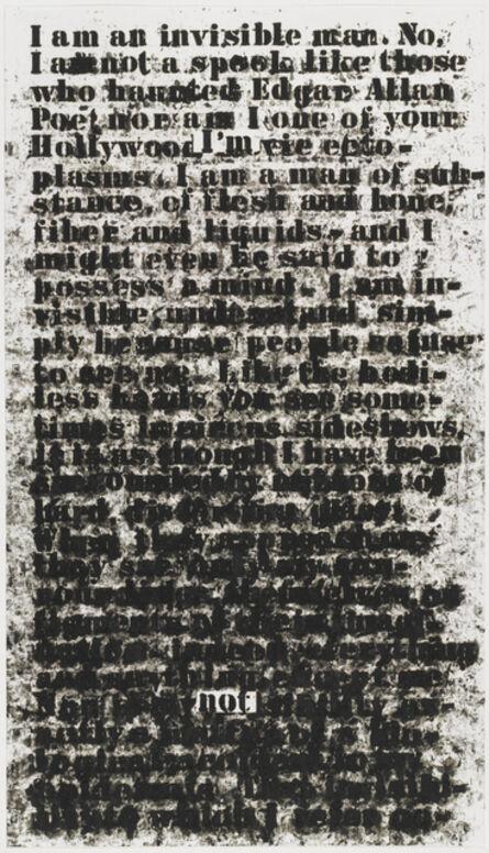 Glenn Ligon, 'Untitled (I Am an Invisible Man)', 1991