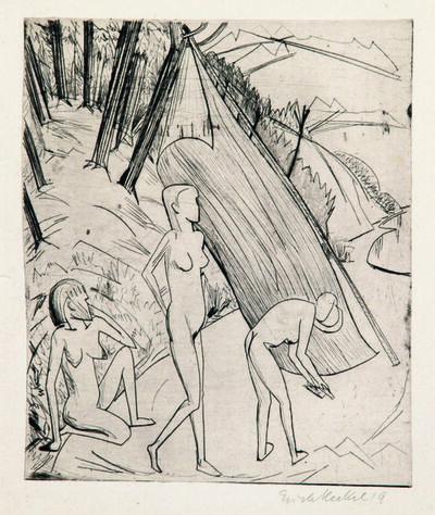 Erich Heckel, 'Drei Mädchen am Strand', 1919