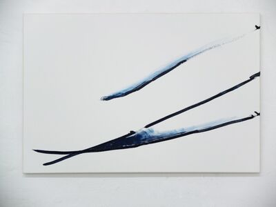 Max Ruf, ' untitled (prussian blue line, fading, white ground, A)', 2015