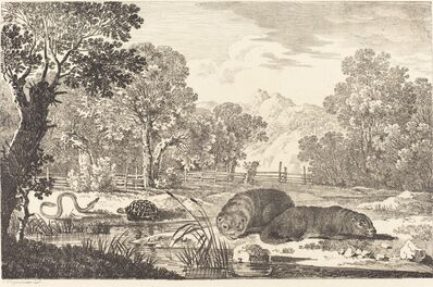 Max Joseph Wagenbauer, 'River Landscape with Two Beavers', 1807