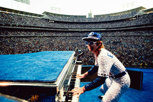 Terry O'Neill, 'Elton John performing at Dodger Stadium', 1975
