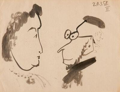 Pablo Picasso, 'Conversation (croquis)', 1958