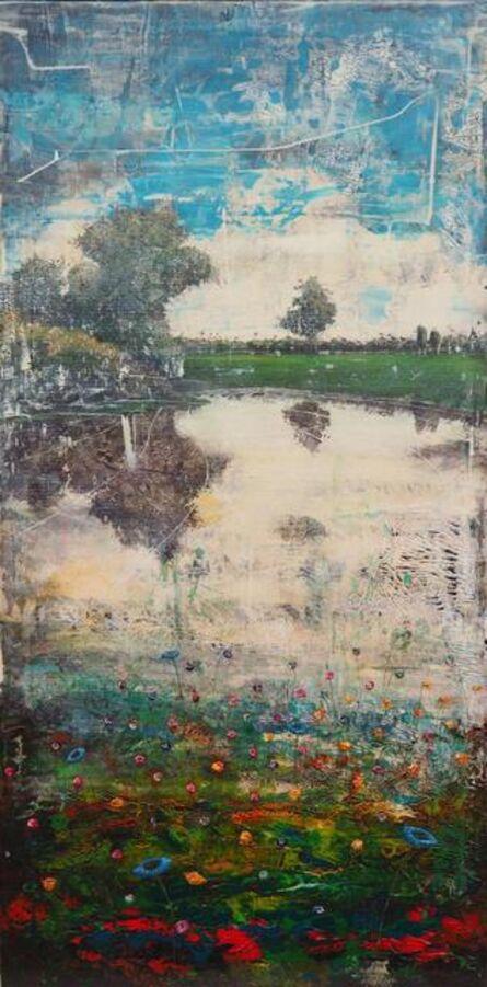 Jernej Forbici, 'Blue flowers in green', 2020