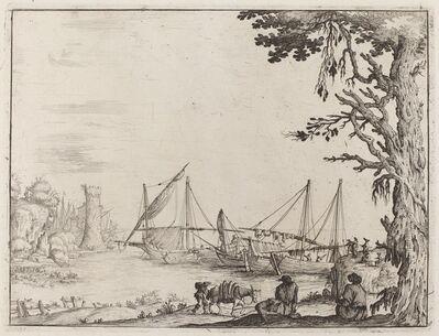 Ercole Bazicaluva, 'Seaport with Anchored Vessels', 1638