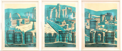 """Marz Junior, '""""Los Angeles Hollywood Sign """" -  triptych teal framed', 2018"""
