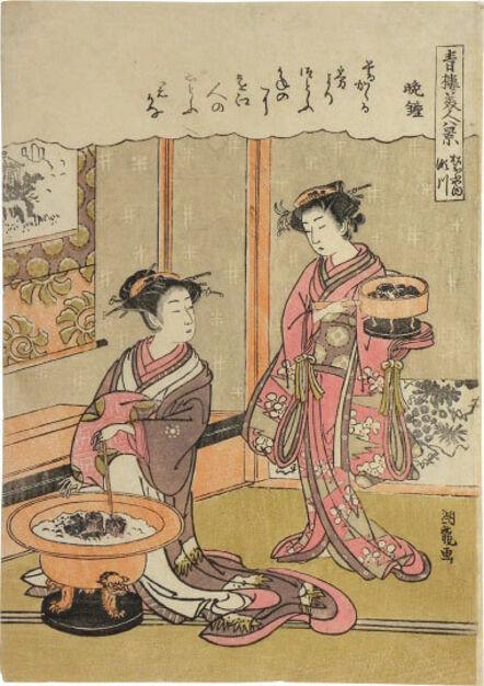 Isoda Koryusai, 'Eight Views of Beauties of the Green Houses: Segawa of the Matsubaya House, Evening Bell', ca. 1776