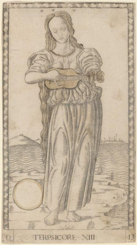 Master of the E-Series Tarocchi, 'Terpsicore (Terpsichore)', ca. 1465