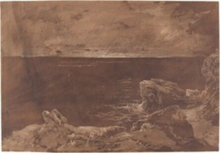 William West or Samuel Jackson, 'A Rocky Coast by Moonlight', late 1820s