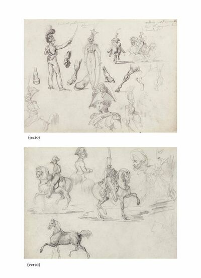 Théodore Géricault, 'Studies of officers and cavaliers (recto), Studies of officers, cavaliers and two turbaned men, a portrait of Napoleon in profile (verso)'