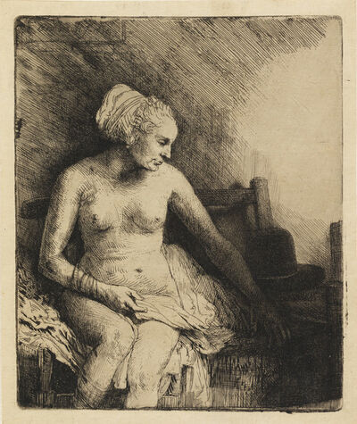Rembrandt van Rijn, 'Woman at the Bath with a Hat beside her', 1658