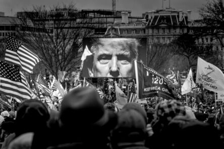 Nina Berman, 'President Trump's image is projected on the screen at the Save America rally near the Washington Monument which later ended in violence at the Capitol, January 6, 2021', 2021