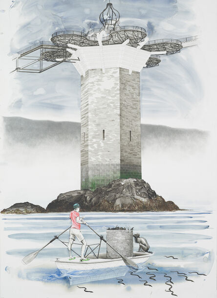 Charles Avery, 'Untitled (Onomatopoeia harbour gate, West tower, with Oarsman in foreground)', 2018