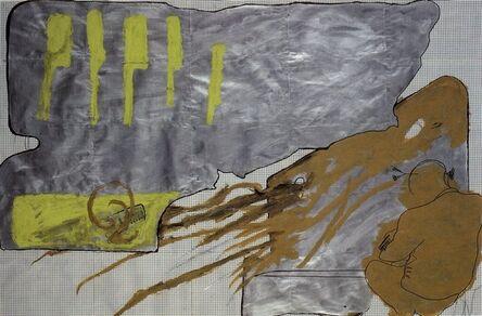 Bruno Gironcoli, 'Entwurf, Silberbank und Figur', 1989