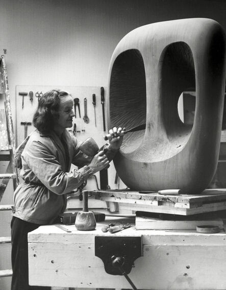 Barbara Hepworth, 'Barbara Hepworth in the Palais studio at work onthe wood carving Hollow Form with White Interior', 1963