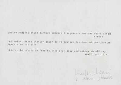 Giuseppe Chiari, 'Questo bambino dovrà cantare', anni '70