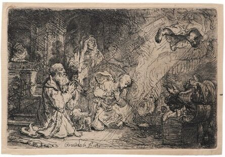 Rembrandt van Rijn, 'The Angel Departing from Tobit's Family', ca. 1637