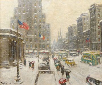 Guy Carleton Wiggins, 'Winter at the Library', ca. 1940s
