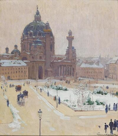 Carl Moll, 'Karlskirche im Winter', 1902