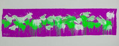 Ushio Shinohara 篠原 有司男, 'Green & White on Purple – April 2014', 2014