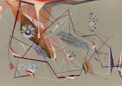 Dannielle Tegeder, 'Salanca: Shape Language City Plan with Velocity and Crystalline Code and Rhapsodic Headquarter Global Center and Magnetic Diagram for Beauty Crystalline Universe with Velocity Accidents, and with Tunnel Routes and Stations with Pipe Chrysalis Headquarters City Plan Flat Line Possibility Machine Language and Solar Structured City with Machine Plan Universe and Method Angle Main Triangle Planet and Crystal with Thermal Red Secret and break down', 2014-2015
