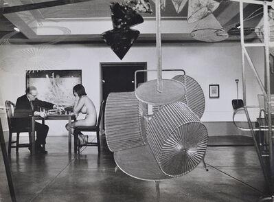 Julian Wasser, 'Duchamp making a chess move in distance, Duchamp Retrospective, Pasadena Art Museum,', 1963