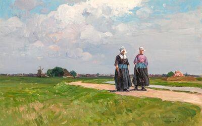 Charles Herbert Woodbury, 'Afternoon Stroll in Summer, Volendam, Holland,', 1891