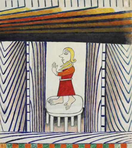 Martín Ramírez, 'Untitled (Woman in Red Dress)', ca. 1963