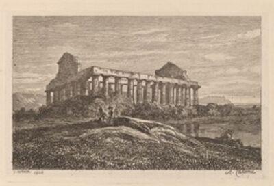 Alexandre Calame, 'Ruins at Paestum', 1845