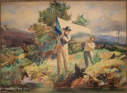 John Whorf, 'Two Men Carrying a Canoe', ca. 1930