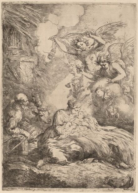 Bartolomeo Biscaino, 'The Holy Family Adored by Angels (The Large Nativity)'