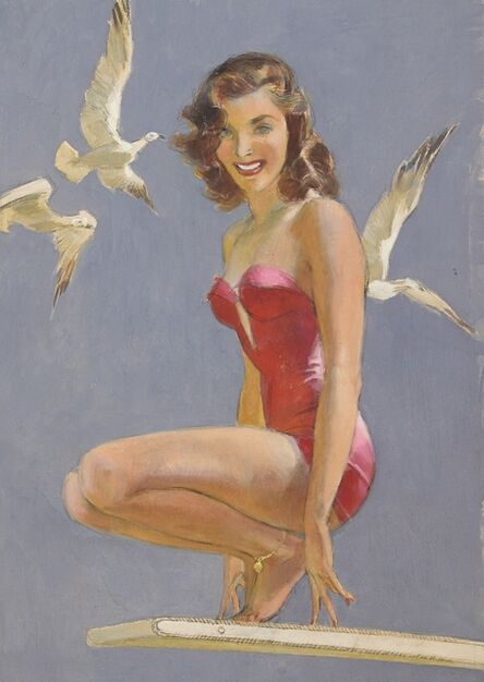 John Lagatta, 'Woman in Red Swimsuit Perched on Diving Board, Three White Doves Around Her', ca. 1950