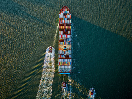 Jeffrey Milstein, 'Container Ship and Tugs 2', 2017